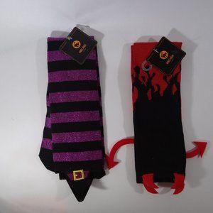 Halloween Knee High Socks - 2pr - Devil & Witch
